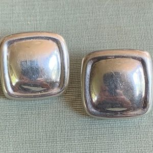 "Sterling Silver Square Stud Earrings 1"" x 1"""